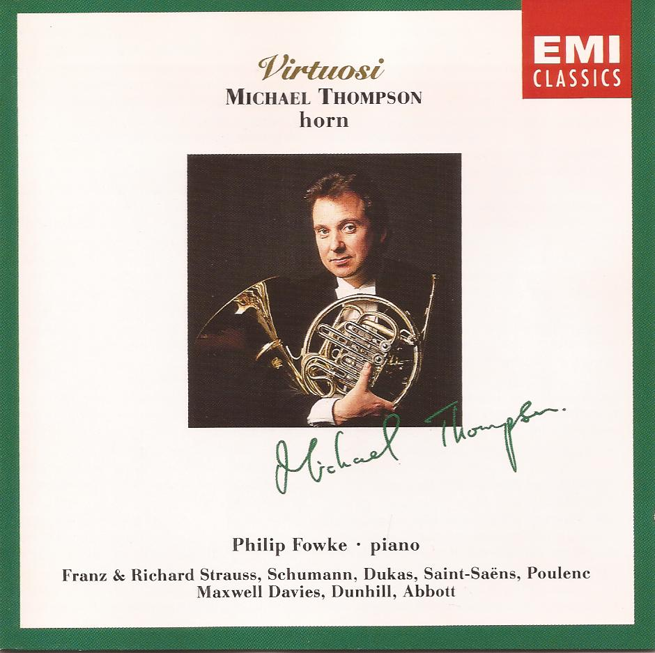 CD cover for Virtuosi, Michael Thompson-Horn, Philip Fowke-Piano